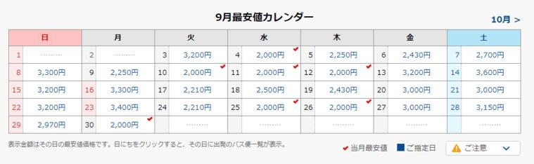 仙台~東京間の高速バス料金