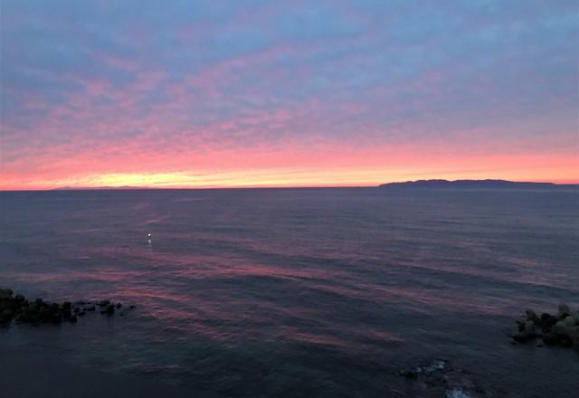 桑川駅から見える夕日
