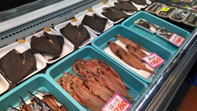 宮古市魚菜市場で売られている海鮮