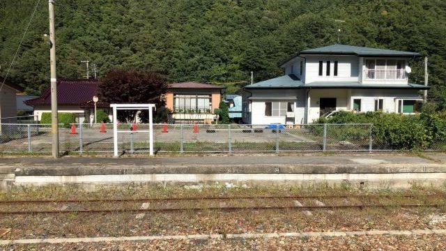 茂市駅の岩泉線ホーム跡
