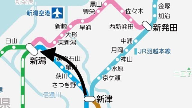 信越本線の路線図