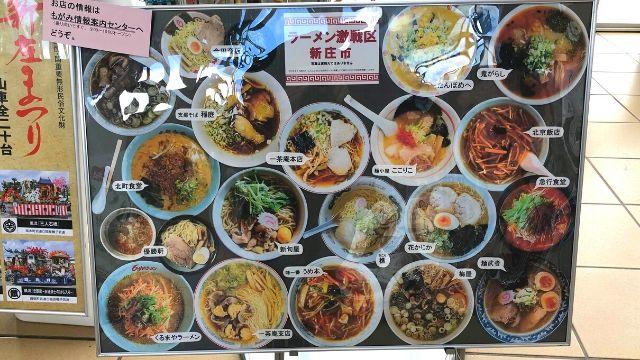 新庄駅のラーメン屋紹介ボード