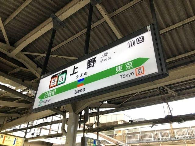 上野駅の駅名標
