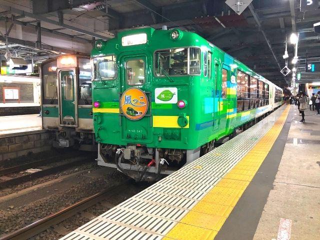 仙台駅に到着した風っこ湯けむり号