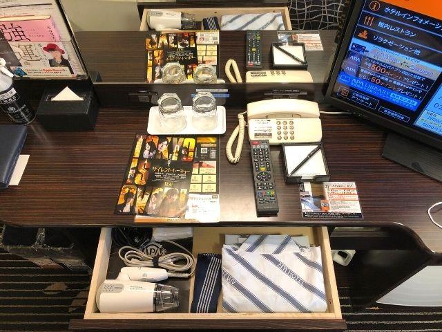 アパヴィラホテル仙台駅五橋のシングルルームのテーブル周り
