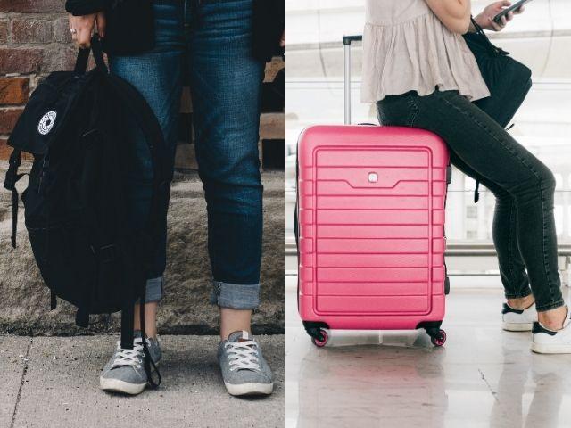 バックパックとスーツケース