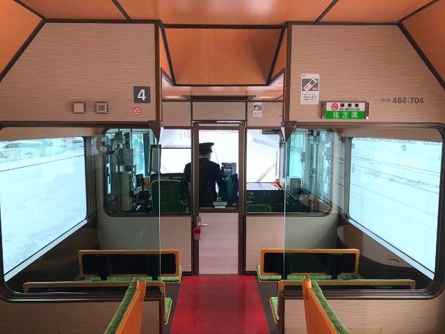 ジパング平泉の1号車と4号車にある展望スペース