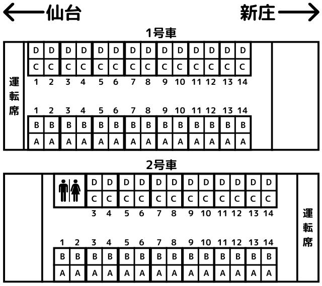 東北の祭りラッピング車両の座席表