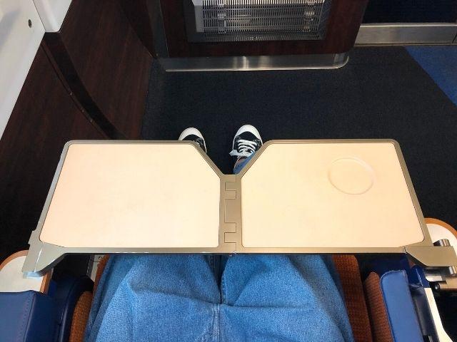 特急いなほグリーン車の肘掛けのテーブル