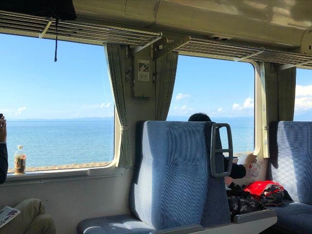 大湊線の車窓から見える海