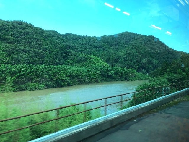 阿武隈急行の車窓から見える阿武隈川